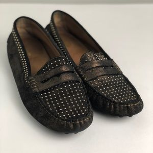 Coach Studded Metallic Suede Loafers